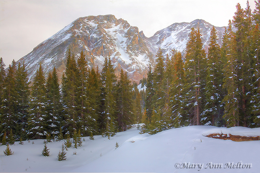A HDR image of Mount Arkansas, Colorado in winter