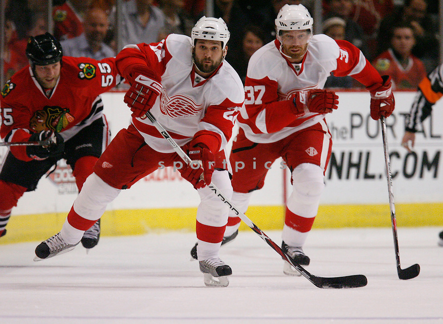 BRETT LEBDA,, of the Detroit Red Wings  in action during the Red Wings game against the Chicago Blackhawks in Chicago, IL on May 22, 2009  The Blackhawks win 4-3.