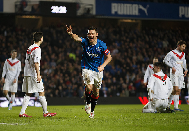 Lee McCulloch signals his hat-trick as he celebrates scoring his third goal before half-time