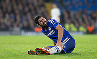 Diego Costa of Chelsea clutches his leg in pain during the UEFA Champions League Group G match between Chelsea and Dynamo Kyiv at Stamford Bridge, London, England on 4 November 2015. Photo by Andy Rowland.