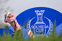 Carlota Ciganda of Team Europe on the 8th tee during Day 2 Foursomes at the Solheim Cup 2019, Gleneagles Golf CLub, Auchterarder, Perthshire, Scotland. 14/09/2019.<br /> Picture Thos Caffrey / Golffile.ie<br /> <br /> All photo usage must carry mandatory copyright credit (© Golffile | Thos Caffrey)