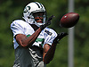 Charone Peake #17 makes a catch during New York Jets Training Camp at the Atlantic Health Jets Training Center in Florham Park, NJ on Thursday, Aug. 3, 2017.