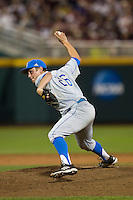 UCLA pitcher David Berg (26) delivers a pitch to the plate during Game 1 of the 2013 Men's College World Series Finals against the Mississippi State Bulldogs on June 24, 2013 at TD Ameritrade Park in Omaha, Nebraska. The Bruins defeated the Bulldogs 3-1, taking a 1-0 lead in the best of 3 series. (Andrew Woolley/Four Seam Images)