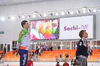 SPEEDSKATING: SOCHI: Adler Arena, 22-03-2013, Essent ISU World Championship Single Distances, Day 2, podium 5000m Men, Sven Kramer (NED), Ivan Skobrev (RUS), © Martin de Jong