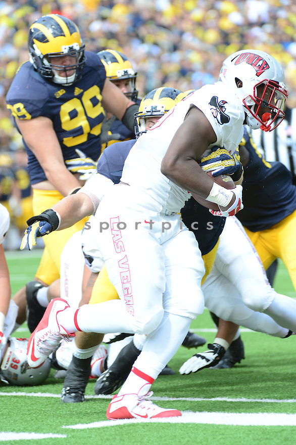 UNLV Rebels Xzaviar Campbell (35) during a game against the Michigan Wolverines on September 19, 2015 at Michigan Stadium in Ann Arbor, MI. Michigan beat UNLV 28-7.
