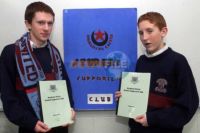 L to R, Tim Higgins and Seanai Conlon run student supporters club for Drogheda United at St Mary's Diocesan school in Beamore Rd..pic:Arthur Carron/ Newsfile.245k0251