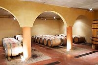Domaine Mas Bruguiere. Pic St Loup. Languedoc. Barrel cellar. France. Europe.