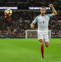 Jordan Henderson (Liverpool) of England during the FIFA World Cup qualifying match between England and Malta at Wembley Stadium, London, England on 8 October 2016. Photo by David Horn / PRiME Media Images.