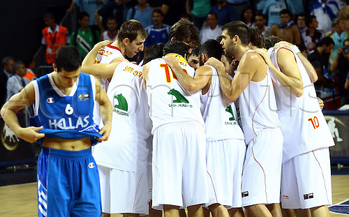 Sep 04, 2010; Istanbul, TURKEY; Defending champions Spain broke open a close game in the fourth quarter and continued their mastery over Greece by winning their Eight-Final showdown at the FIBA World Championship on Saturday. Spain's players celebrate the victory after the game.