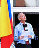 """JULIAN_ASSANGE.The WikiLeaks founder Julian Assange thanks the nation of Ecuador for taking a """"stand for justice"""" in giving him political asylum at their Embassy in London..Assange,41, appeared on the balcony of the Embassy of Ecuador where he took sanctuary in the in June, jumping bail after exhausting appeals in British courts against extradition to Sweden, where he is wanted in Sweden for questioning regarding allegations of rape and sexual assault against two women.He says he fears Sweden will eventually hand him over to the United States where, in his view, he would face persecution and long-term imprisonment. The United States says it is not involved in the matter_19/08/2012.Mandatory Credit Photo: ©Butler/NEWSPIX INTERNATIONAL..**ALL FEES PAYABLE TO: """"NEWSPIX INTERNATIONAL""""**..IMMEDIATE CONFIRMATION OF USAGE REQUIRED:.Newspix International, 31 Chinnery Hill, Bishop's Stortford, ENGLAND CM23 3PS.Tel:+441279 324672  ; Fax: +441279656877.Mobile:  07775681153.e-mail: info@newspixinternational.co.uk"""