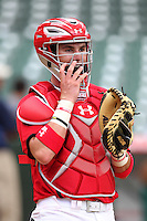 Catcher Tomas Nido #16 during practice before the Under Armour All-American Game at Wrigley Field on August 13, 2011 in Chicago, Illinois.  (Mike Janes/Four Seam Images)