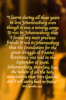 Mahatma Gandhi quote, Apartheid Museum, Johannesburg, South Africa.