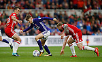 David Brooks of Sheffield Utd skips past Adam Clayton of Middlesbrough during the Championship match at the Riverside Stadium, Middlesbrough. Picture date: August 12th 2017. Picture credit should read: Simon Bellis/Sportimage