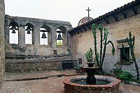 "Mission San Juan Capistrano, San Juan Capistrano, California, USA - the ""Sacred Garden"" and the Campanario (Bell Wall) - Historic Landmark founded 1776"