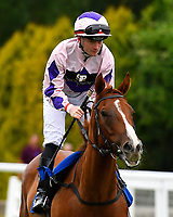 Whitecrest ridden by William Carson goes down to the start during Ladies Evening Racing at Salisbury Racecourse on 15th July 2017