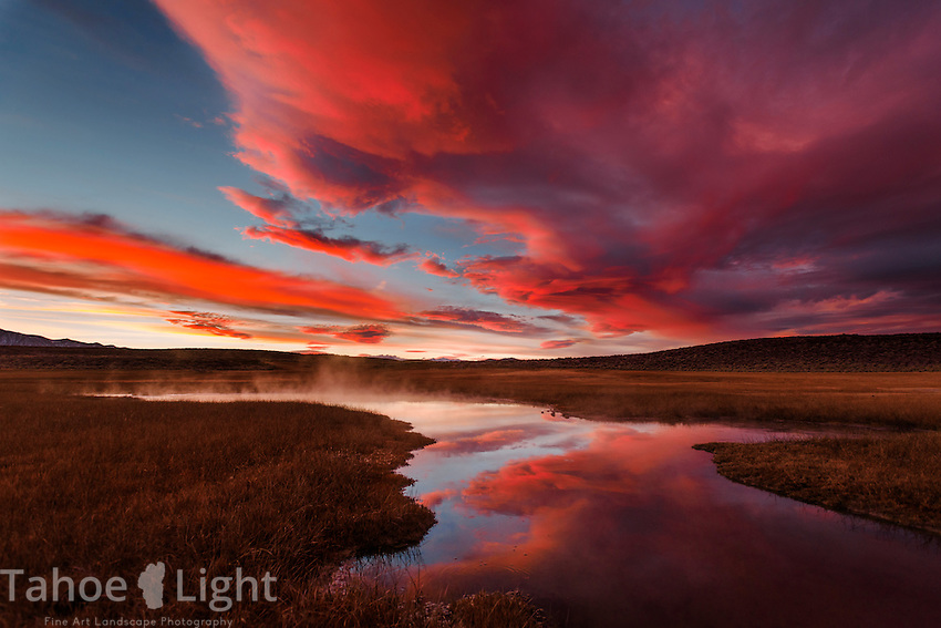 Spectacular sunset over Hot Creek in Owen's Valley near Mammoth Lakes, CA.