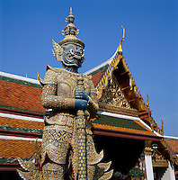 Thailand, Central Thailand, Bangkok: The Grand Palace Yaksha (close-up) | Thailand, Zentralthailand, Bangkok: Der Grosse Palast, Detail