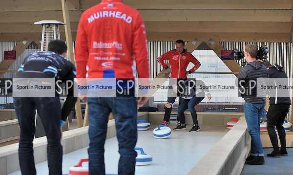 Eve Muirhead, Tom Brewster, David Murdoch and Glen Muirhead try 'blind' curling as they open new rooftop curling centre in East London. Sliders. Roof East. Stratford Shopping Centre. London. England. UK. 03/11/2016. ~ MANDATORY CREDIT Garry Bowden/SIPPA - NO UNAUTHORISED USE - +44 7837 394578