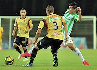 PEREIRA -COLOMBIA-23-07-2014. Aspecto del encuentro entre Aguilas Doradas y Atlético Nacional en partido por la fecha 5 de la Copa Postobon 2014 jugado en el estadio Hernán Ramírez Villegas de Pereira./ Aspect of the match between Aguilas Doradas and Atletico Nacional for the 5th date of the Postobon Cup 2014 played at Hernan Ramirez Villegas of Pereira city.  Photo:VizzorImage/ CONT