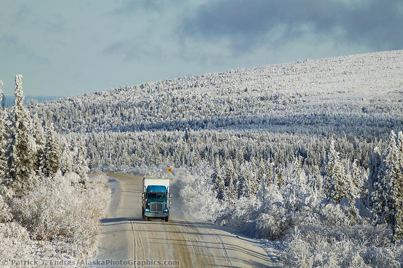 Truckers hauls supplies along the James Dalton Highway, Arctic Alaska