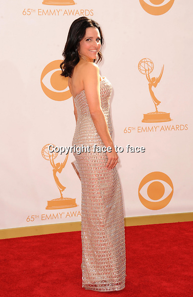 Julia Louis-Dreyfus arrives at the 65th Primetime Emmy Awards at Nokia Theatre on Sunday Sept. 22, 2013, in Los Angeles.<br />