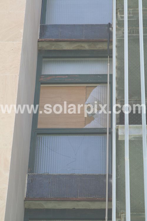 **ALL ROUND PICTURES FROM SOLARPIX.COM**.**WORLDWIDE SYNDICATION RIGHTS**.GVs from the Mallorca Beach Hotel (Avda. Notario Alemany 1, (Calviá), Magaluf 07182) Mallorca which was the scene of a fall where British university student Mark Day (20) from Braintree, Essex plunged to his death after running along the hotel corridor in his underwear as a forfeit for losing a card game. As Mark came to the end of the corridor he was unable to stop and crashed through the a 4th floor window, falling to his death on the street below. 30th June 2008..This pic: Mallorca Beach Hotel: The 4th floor window, now boarded up..JOB REF: 6756 STJ       DATE: 30_06_2008.**MUST CREDIT SOLARPIX.COM OR DOUBLE FEE WILL BE CHARGED* *UNDER NO CIRCUMSTANCES IS THIS IMAGE TO BE REPRODUCED FOR ANY ONLINE EDITION WITHOUT PRIOR PERMISSION*