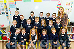 Teacher Freda Leahy pictured with her Junior Infants first day at school at Abbeydorney NS last Wednesday August 28th.