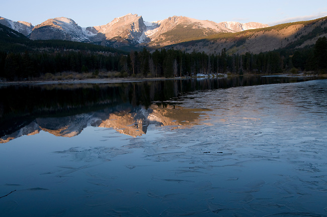 morning, reflection, ice, Hallett Peak, mountain, nature, abstract, design, Sprague Lake, Rocky Mountain National Park, Rocky Mountains, Colorado, USA