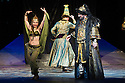 London, UK. 01.04.2014. The Kolobov Novaya Opera presents PRINCE IGOR at the London Coliseum. Picture shows: Act II - Polovtsian Camp, with Konchak (Vladimir Kudashev - right). Photograph © Jane Hobson.