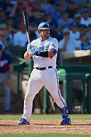 Tim Federowicz (50) of the Texas Rangers at bat during a Cactus League Spring Training game against the Los Angeles Dodgers on March 8, 2020 at Surprise Stadium in Surprise, Arizona. Rangers defeated the Dodgers 9-8. (Tracy Proffitt/Four Seam Images)