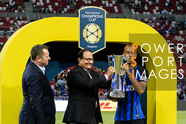 FC Internazionale Defender Joao Miranda receives the trophy after the International Champions Cup 2017 match between FC Internazionale and Chelsea FC on July 29, 2017 in Singapore. Photo by Weixiang Lim / Power Sport Images