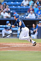 Asheville Tourists left fielder Ben Johnson (11) swings at a pitch during a game against the Hickory Crawdads at McCormick Field on July 13, 2017 in Asheville, North Carolina. The Tourists defeated the Crawdads 9-4. (Tony Farlow/Four Seam Images)