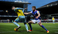 Ipswich Town's Callum Elder battles with  Rotherham United's Anthony Forde<br /> <br /> Photographer Hannah Fountain/CameraSport<br /> <br /> The EFL Sky Bet Championship - Ipswich Town v Rotherham United - Saturday 12th January 2019 - Portman Road - Ipswich<br /> <br /> World Copyright &copy; 2019 CameraSport. All rights reserved. 43 Linden Ave. Countesthorpe. Leicester. England. LE8 5PG - Tel: +44 (0) 116 277 4147 - admin@camerasport.com - www.camerasport.com