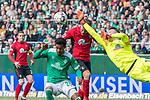 13.04.2019, Weser Stadion, Bremen, GER, 1.FBL, Werder Bremen vs SC Freiburg, <br /> <br /> DFL REGULATIONS PROHIBIT ANY USE OF PHOTOGRAPHS AS IMAGE SEQUENCES AND/OR QUASI-VIDEO.<br /> <br />  im Bild<br /> <br /> Theodor Gebre Selassie (Werder Bremen #23)<br /> Florian Niederlechner (SC Freiburg #7)<br /> Jiri Pavlenka (Werder Bremen #01)<br /> <br /> Foto © nordphoto / Kokenge