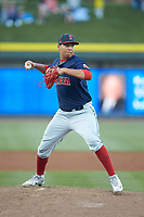 Salem Red Sox starting pitcher Bryan Mata (34) makes a pick-off throw to first base against the Winston-Salem Dash at BB&T Ballpark on April 20, 2018 in Winston-Salem, North Carolina.  The Red Sox defeated the Dash 10-3.  (Brian Westerholt/Four Seam Images)