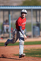 Oaklee Spens (46), from Burbank, California, while playing for the Cardinals during the Under Armour Baseball Factory Recruiting Classic at Red Mountain Baseball Complex on December 29, 2017 in Mesa, Arizona. (Zachary Lucy/Four Seam Images)