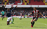 Billy Sharp of Sheffield Utd crosses the ball during the championship match at the Bramall Lane Stadium, Sheffield. Picture date 14th April 2018. Picture credit should read: Simon Bellis/Sportimage
