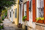Red shutters on a restored antique home in downtown Charleston, SC, a National Historic Landmark district.
