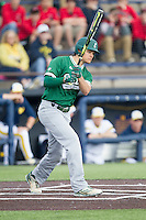 Eastern Michigan Hurons designated hitter Brennen Williams (27) follows through on his swing against the Michigan Wolverines on May 3, 2016 at Ray Fisher Stadium in Ann Arbor, Michigan. Michigan defeated Eastern Michigan 12-4. (Andrew Woolley/Four Seam Images)