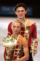 November 19, 2005; Paris, France; Figure skating stars TATIANA TOTMIANINA and MAXIM MARININ of Russia celebrate winning gold in pairs figure skating at Trophee Eric Bompard, ISU Paris Grand Prix competition.  Totmianina and Marinin are one of the favorites for medals in pairs at the Torino 2006 Olympics.<br />Mandatory Credit: Tom Theobald/<br />Copyright 2005 Tom Theobald