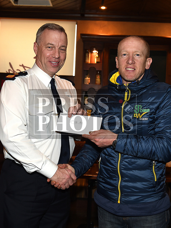 Chairperson Andrew Watters presents Drogheda Wheelers rider Barry Hughes with his 2nd place prize for unplaced A2 in the 10th Anniversary edition of the Peter Bidwell Memorial cycle race at Donore. Photo:Colin Bell/pressphotos.ie