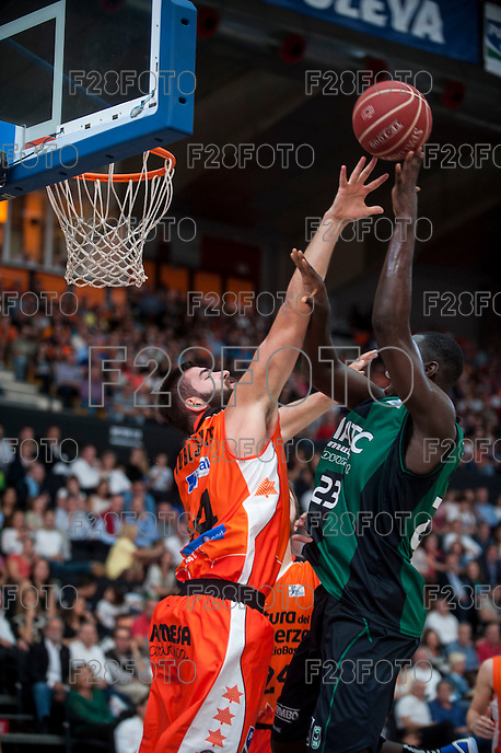 VALENCIA, SPAIN - OCTOBER 18: Dubljevic and Drame during ENDESA LEAGUE match between Valencia Basket Club and FIATC Joventut at Fonteta Stadium on October 18, 2015 in Valencia, Spain