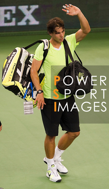 SHANGHAI, CHINA - OCTOBER 14:  Rafael Nadal of Spain acknowledges to the crowd after loosing his match against Jurgen Melzer of Austria during day four of the 2010 Shanghai Rolex Masters at the Shanghai Qi Zhong Tennis Center on October 14, 2010 in Shanghai, China.  (Photo by Victor Fraile/The Power of Sport Images) *** Local Caption *** Rafael Nadal