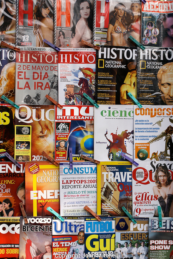 Spanish language magazines at a newstand in Mexico City