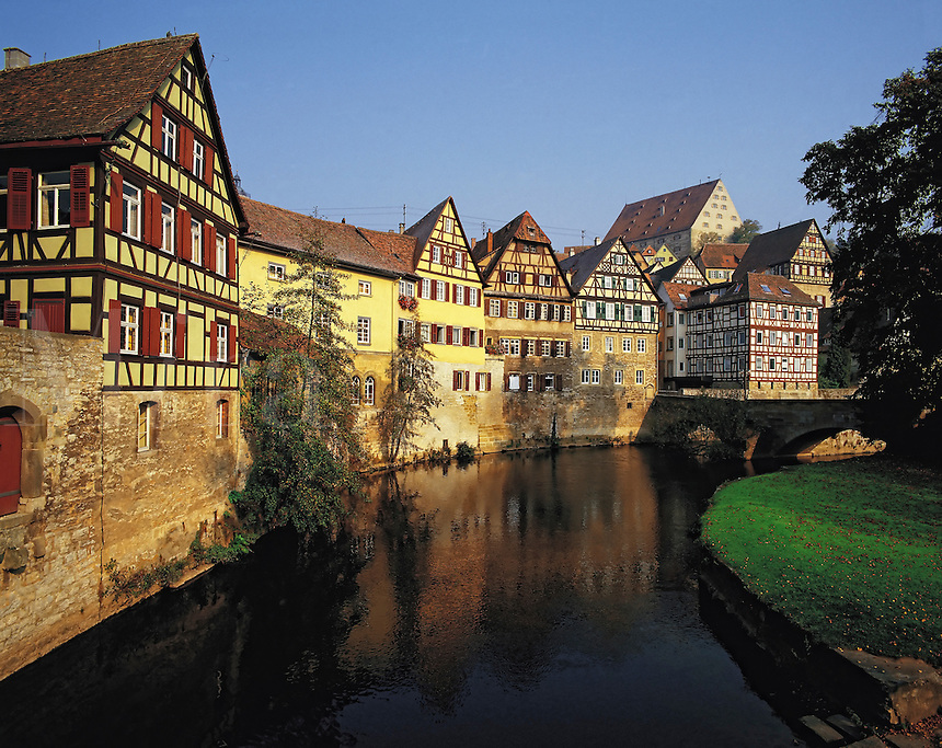 Waterway and colourful semi-timbered traditional houses, Schwabischall, Bavaria, southern German