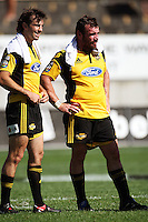 Conrad Smith and Andrew Hore reflect on the victory..Super 14 rugby union match, Hurricanes v Cheetahs at Yarrows Stadium, New Plymouth, New Zealand. Saturday 7 March 2009. Photo: Dave Lintott / lintottphoto.co.nz