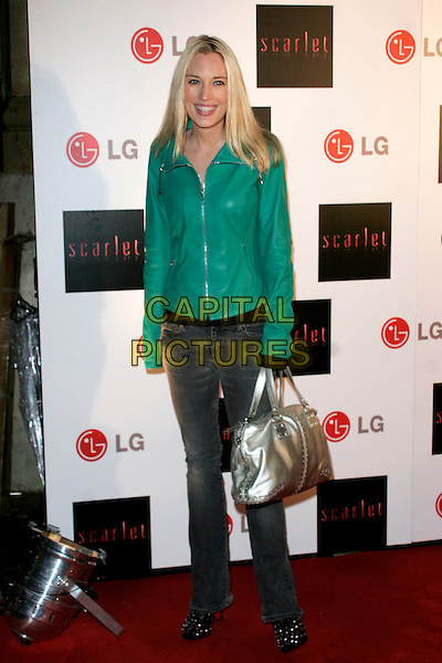 "IMOGEN LLOYD WEBBER.""Scarlet"" - TV series launch, No. 1 Marylebone, Marylebone Road, London, England..April 30th, 2008.full length webber green leather jacket jeans denim silver bag purse .CAP/AH.©Adam Houghton/Capital Pictures."