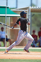 GCL Marlins right fielder Stone Garrett (9) at bat during the second game of a doubleheader against the GCL Cardinals on August 13, 2016 at Roger Dean Complex in Jupiter, Florida.  GCL Cardinals defeated GCL Marlins 2-0.  (Mike Janes/Four Seam Images)