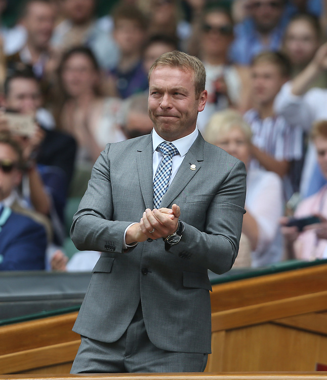 Former cyclist Chris Hoy is introduced to the Centre Court crowd<br /> <br /> Photographer Rob Newell/CameraSport<br /> <br /> Wimbledon Lawn Tennis Championships - Day 6 - Saturday 6th July 2019 -  All England Lawn Tennis and Croquet Club - Wimbledon - London - England<br /> <br /> World Copyright © 2019 CameraSport. All rights reserved. 43 Linden Ave. Countesthorpe. Leicester. England. LE8 5PG - Tel: +44 (0) 116 277 4147 - admin@camerasport.com - www.camerasport.com
