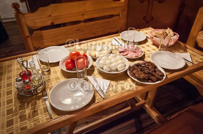 Food for dinner, Monastery Mileševa, Serbia originally built in the 12th century.